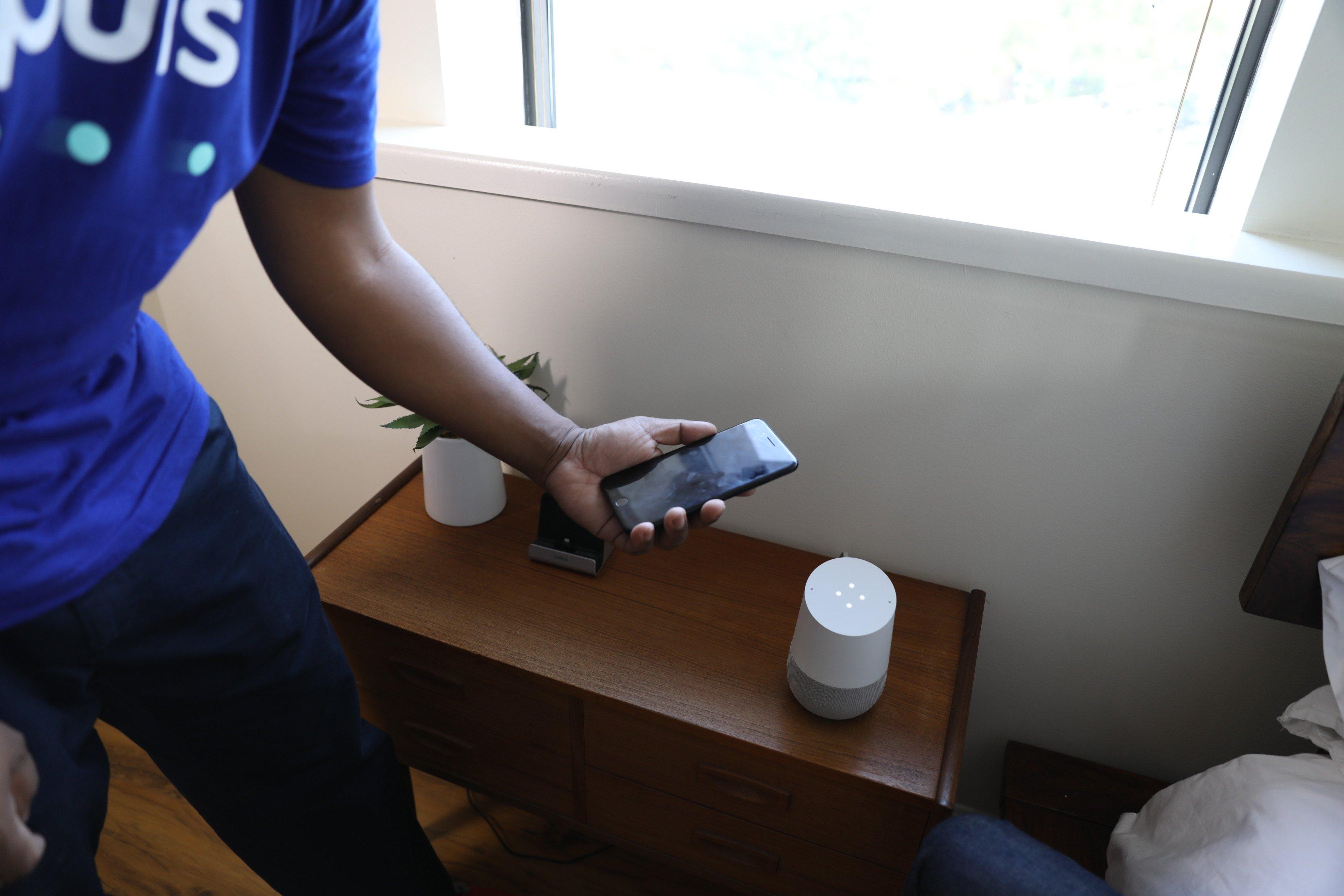 Puls technician demonstrating Google Home