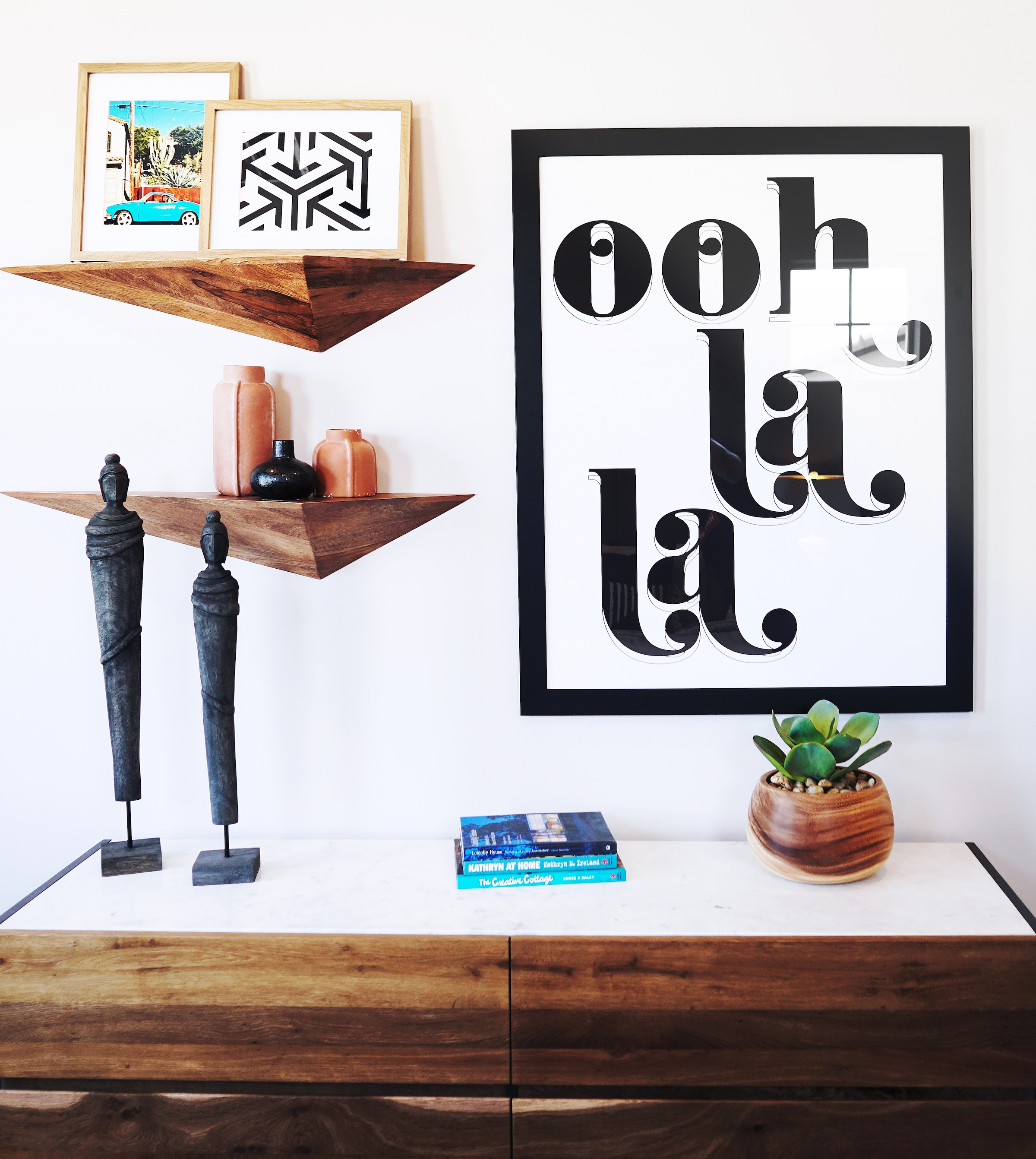 DIY projects for small spaces: add shelves to display your favorite things.