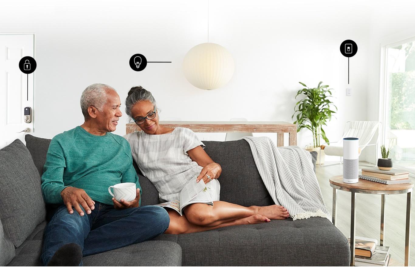 Amazon Echo couple sitting