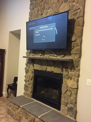 TV mounting on brick wall