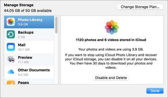 iCloud storage breakdown
