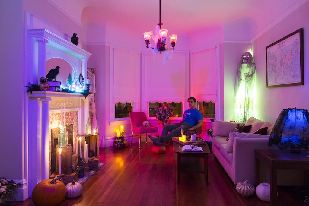 halloween styled living room with smart home lighting