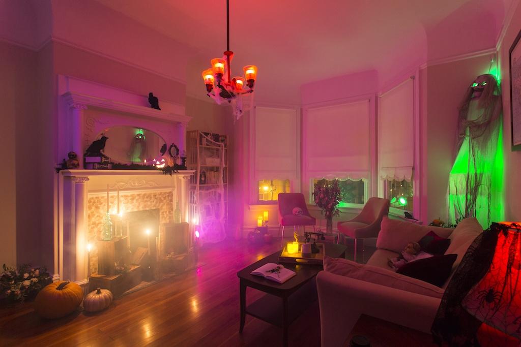 ihome smart plug in halloween styled living room