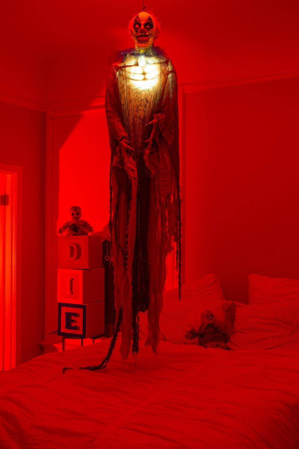 hue lightbulb in halloween skeleton
