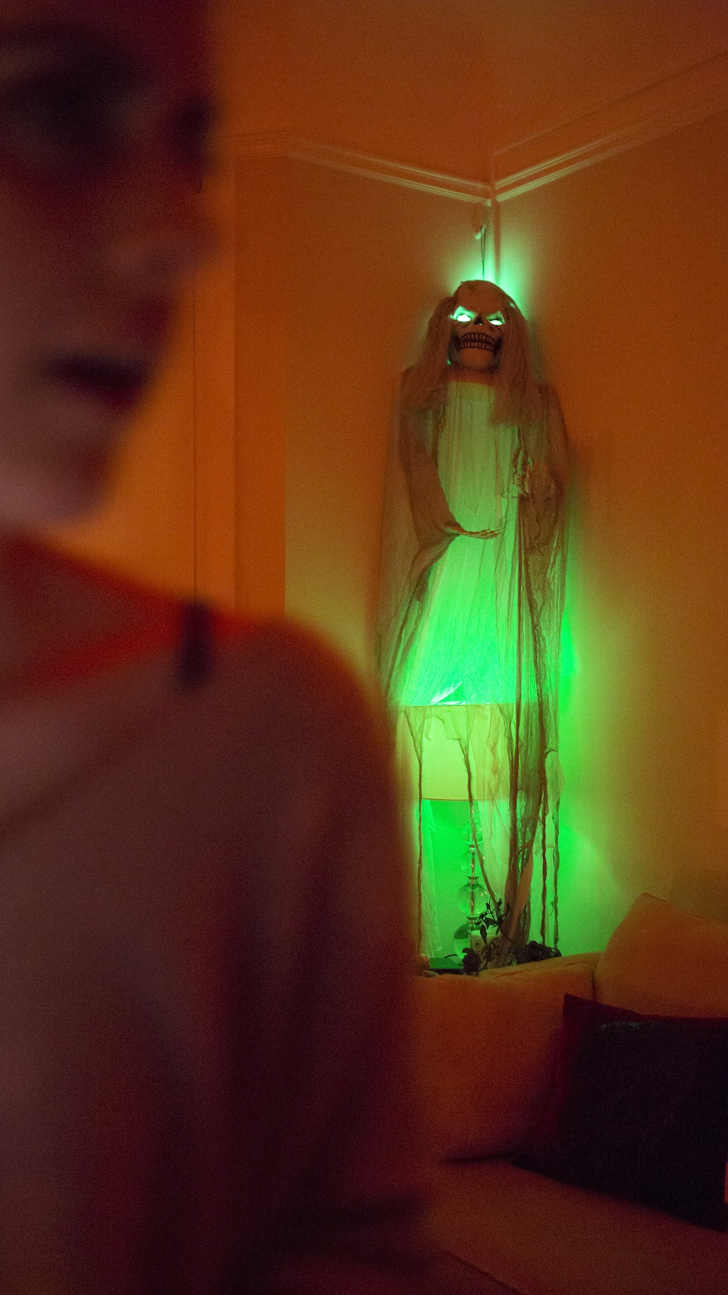 hue portable lights in halloween skeleton