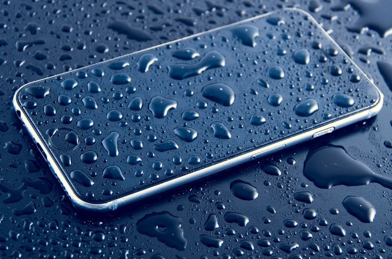 A wet iPhone in distress.