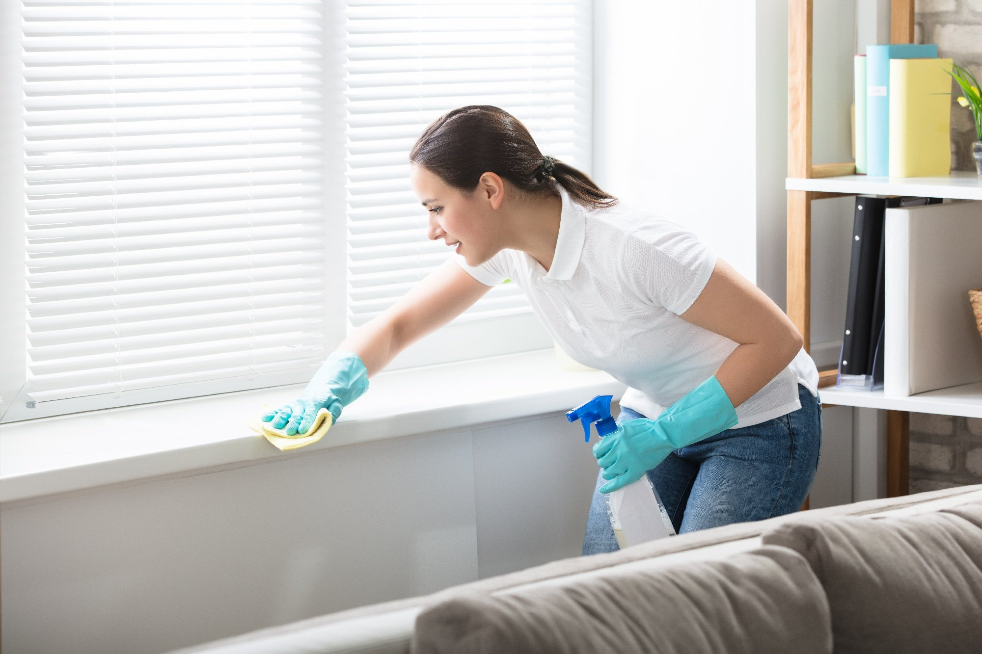 cleaning window sill