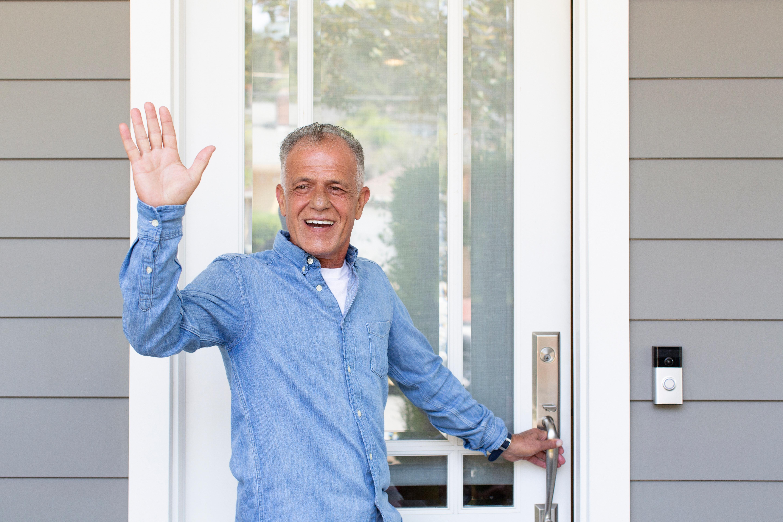 customer using Ring smart doorbell