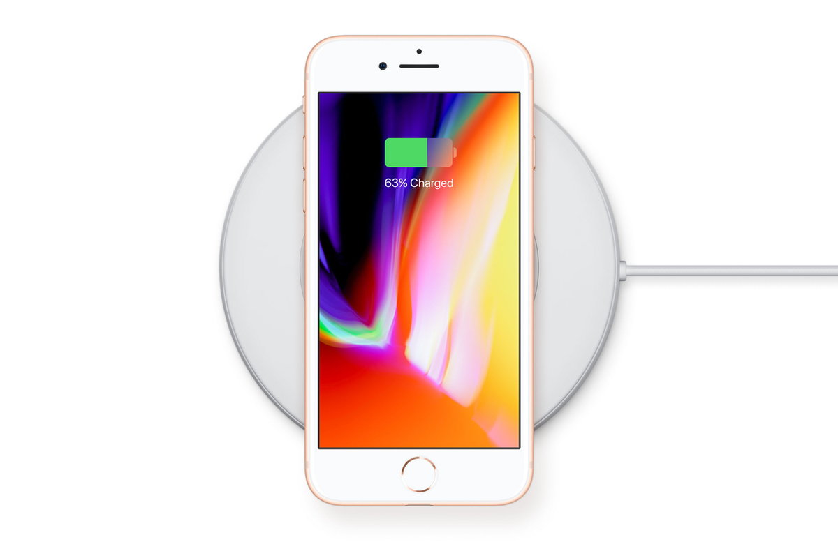 iPhone 8 charging wirelessly
