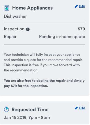 dishwasher repair price