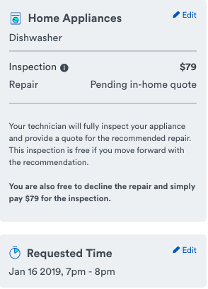 dishwasher repair price