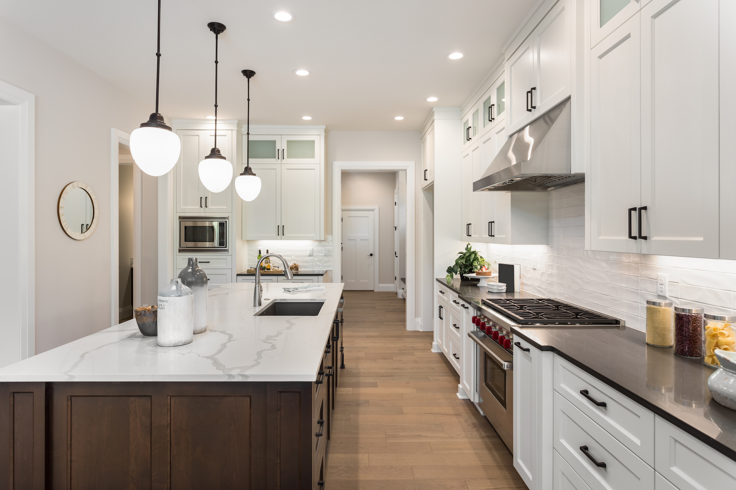 How to install pendant lighting over a kitchen island.