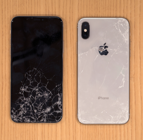 iPhone X shattered screen