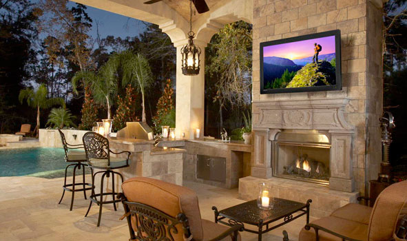 TV mounting outdoors: near pool