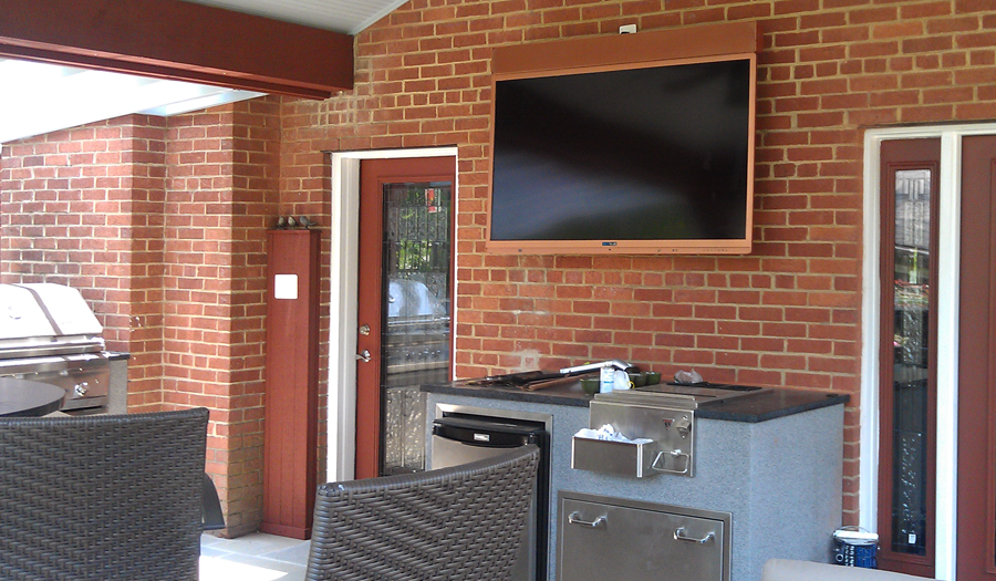 tv mounting outdoors: above grill