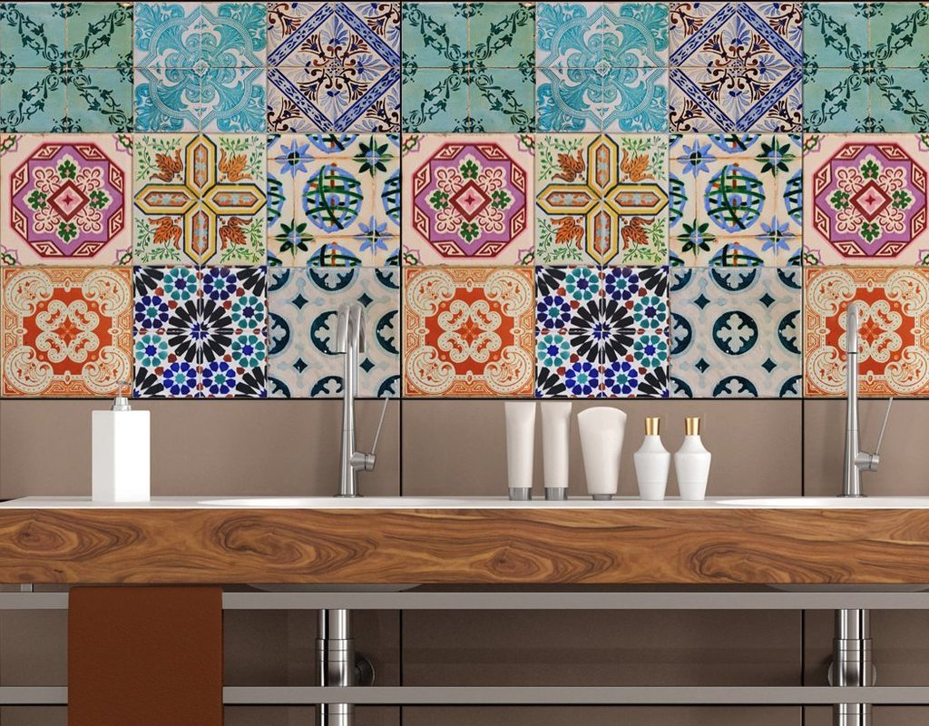 What are bathroom tile stickers?