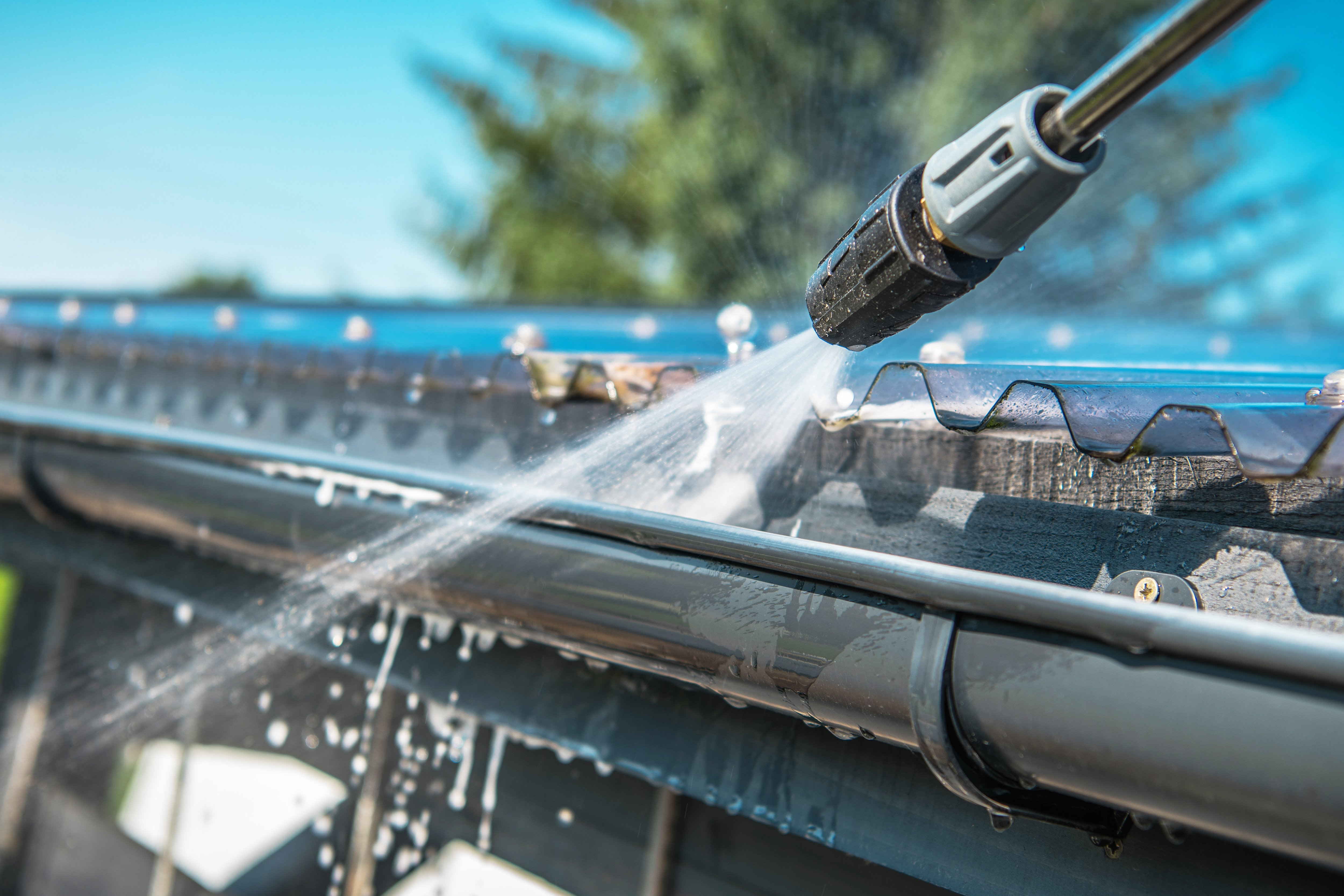 Professional power washing services for gutters
