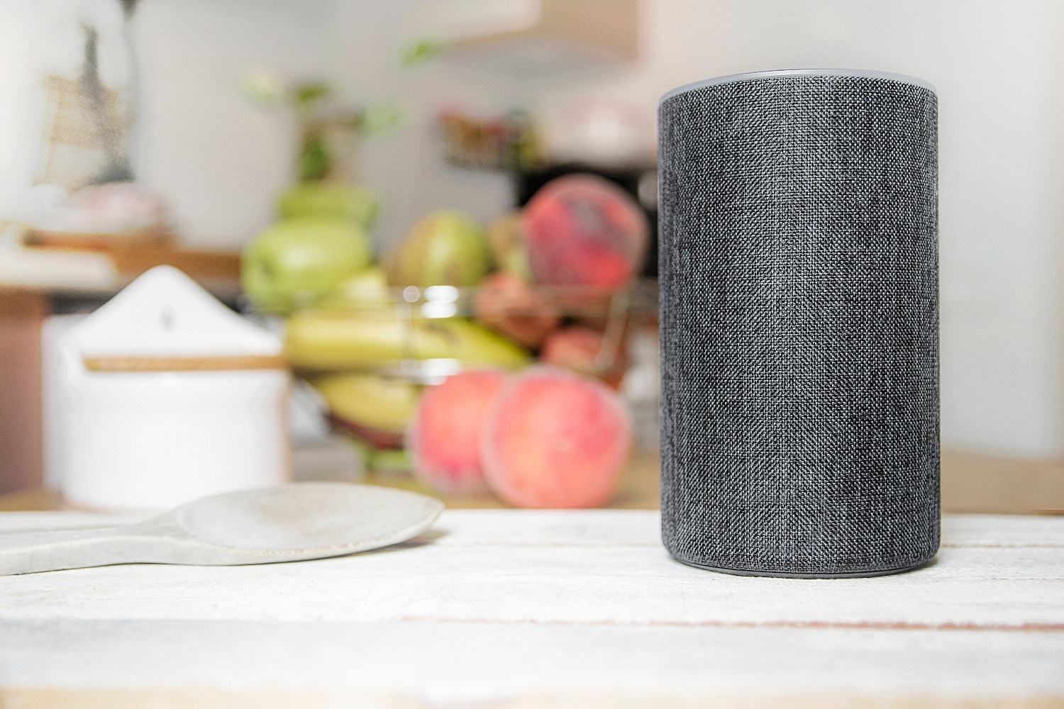 Amazon Echo device in kitchen