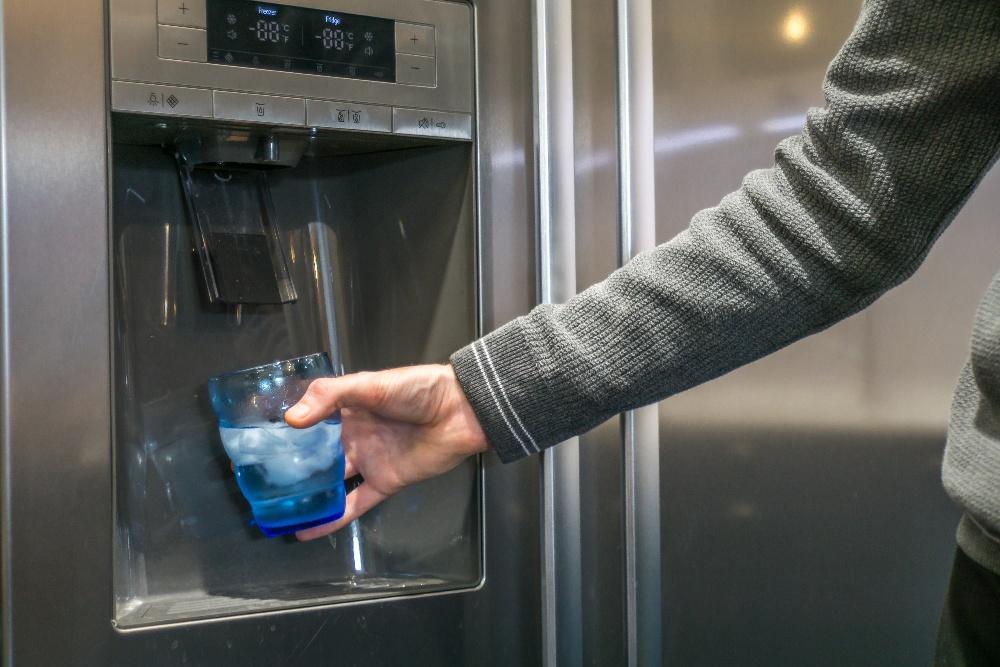 water on fridge door